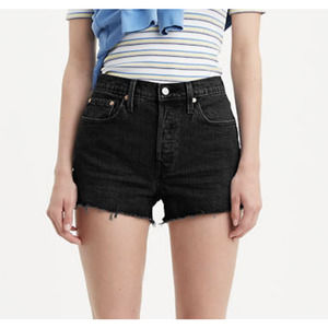 Levi's Button Fly Black Denim High Rise Shorts